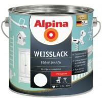 Alpina Белая эмаль  - Алкидная эмаль для внутренних и наружных работ, шелковисто-матовая/глянцевая, Германия, 0.75-2.5л