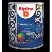 Alpina по ржавчине 3 в 1 - Эмаль по металлу, в ассортименте, 0,75 л